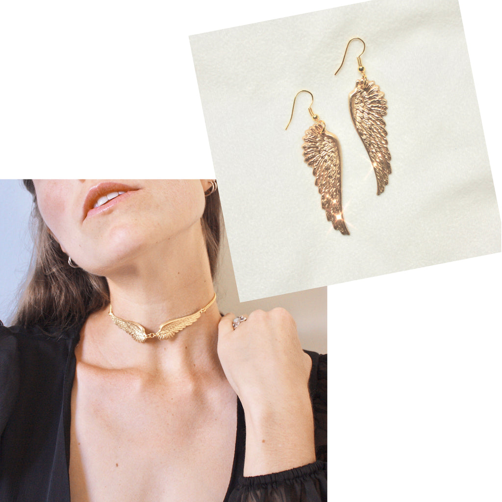 When it Lands Choker/When it Lands Earrings- GOLD BUNDLE