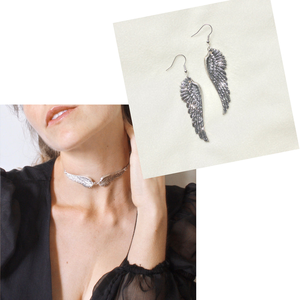When it Lands Choker/When it Lands Earrings- SILVER BUNDLE