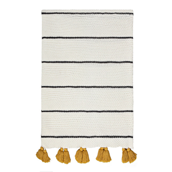 Cotton Cream/Black Stripe w/Mustard Tassels