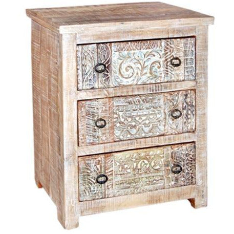 Carved Mango Wood 3 Drawers