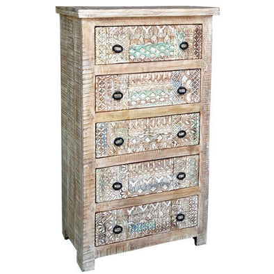 Carved Mango Wood 5 Drawer Chest
