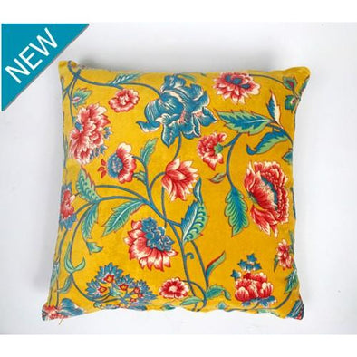 Velvet Cushion Lily Floral - Gold