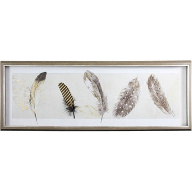 Glass Framed Gold Foil Feather Picture