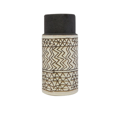 Kalo Cylinder Vase - Grey/Natural