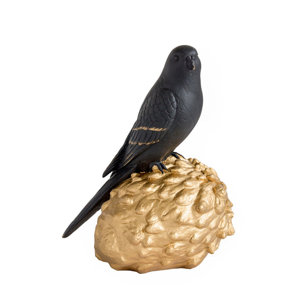 Volary Parrot on Cone - Black/Gold