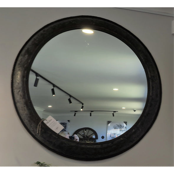 Recycled Iron Large Round Mirror 113cm D