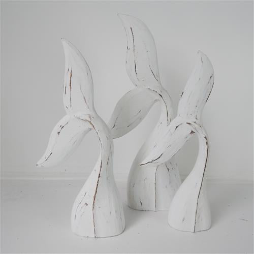 Wooden Whale Tails Set of 3 White Wash