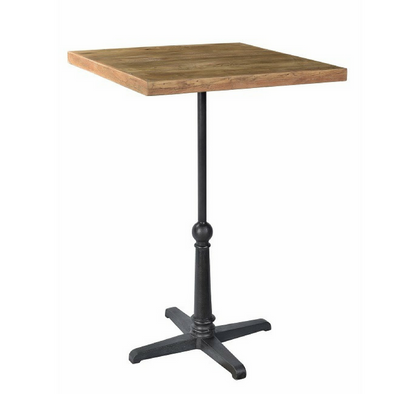 Teak Bar/Leaner with Cast Iron Pedestal
