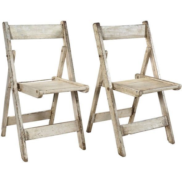 Wooden Folding Chair - White Wash