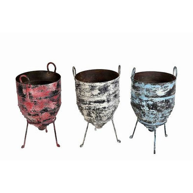 Painted Iron Planter on a Stand