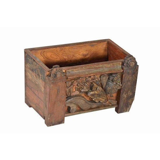 Wooden Planter With Carved Detail