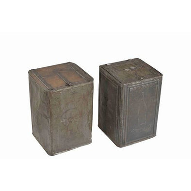 Original Square Iron Tin With Wooden Lid