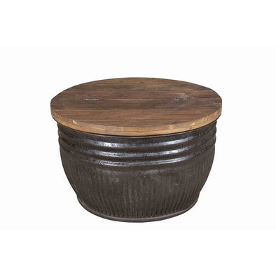 Iron Drum Side Table With Wooden Lift Up Lid - Large