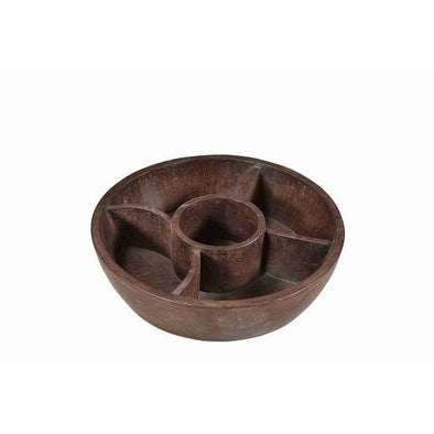 Large Wooden Compartment Bowl