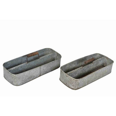 Galvanized Iron Tray With Wooden Handle