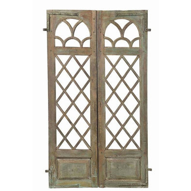 Original Pair of Lattice Detail Doors