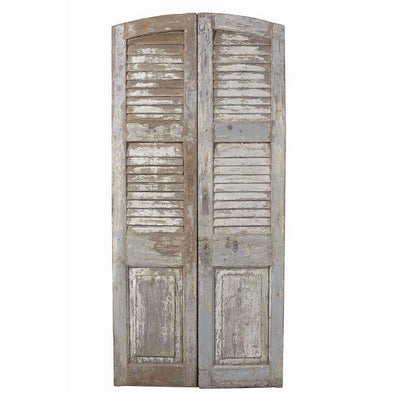 Original Pair Of Tall Rustic Louvre Style Doors