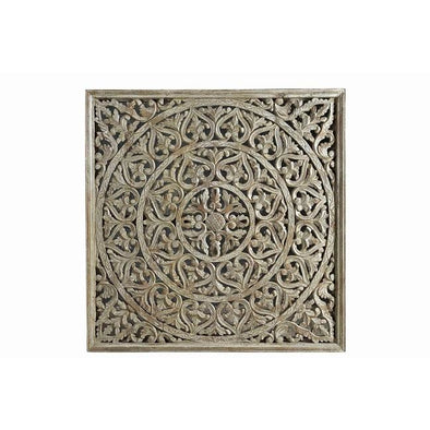 White Wash Wooden Carved Wall Panel