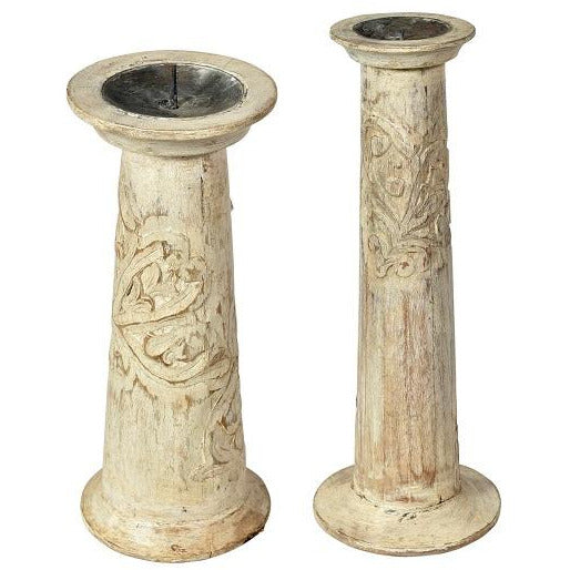 Carved Wood White Wash Candlesticks - 2 Sizes