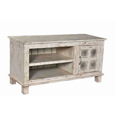 Small Carved Door Entertainment Unit - Antique White Wash