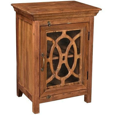 Teak Wood With Glass Door Side Table