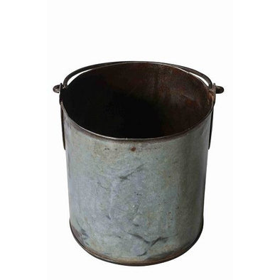 Round Iron Bucket/Planter with Handle