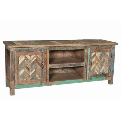 Wooden Entertainment Unit With Parquet Door Design