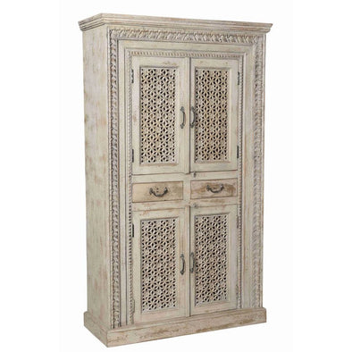 Antique Whitewash Cabinet w/4 Doors & 2 Drawers