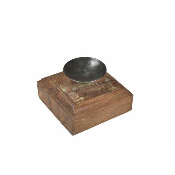 Wooden Square Candle Stand