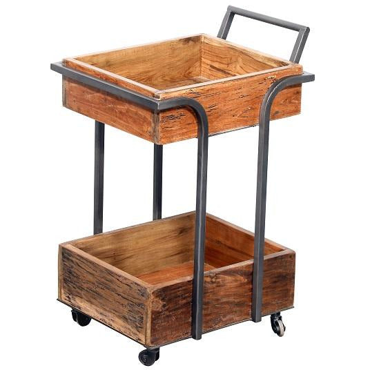 Wooden Rustic 2 Tier Trolly.