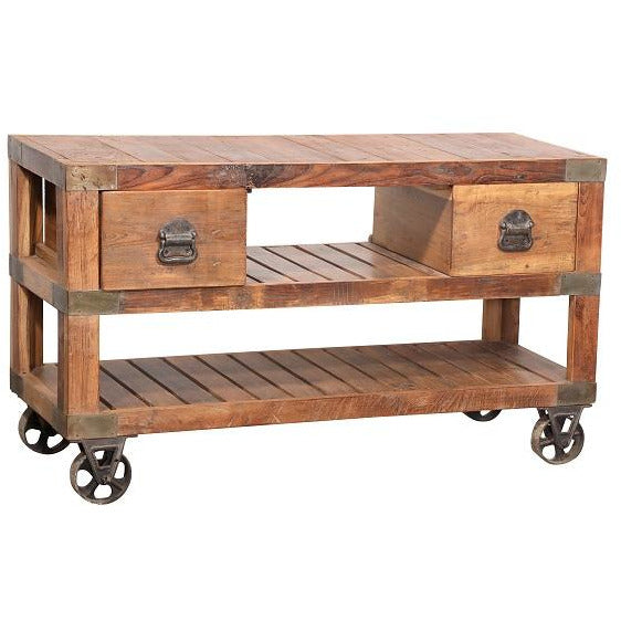 Recycled Wood Entertainment Unit with Iron Wheels