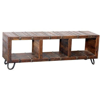 Wood & Iron Entertainment Unit w/Iron Legs