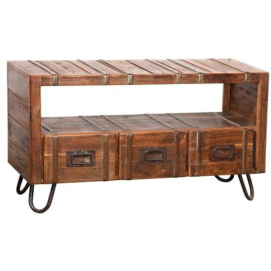Rustic Entertainment Unit w/Iron Legs & 3 Drawers