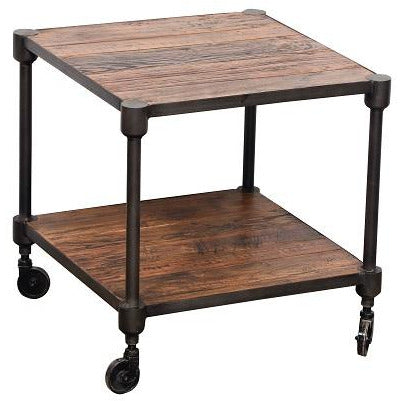 Industrial 2 Tier Side Table w/Wheels
