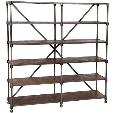 Industrial Wood & Iron Shelves w/Wheels-Large