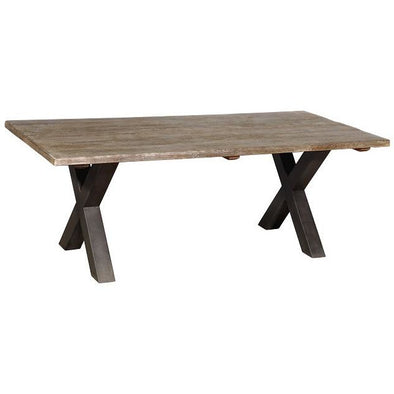 Rustic Wooden Dining Table w/ Cross Iron Legs- Light Finish