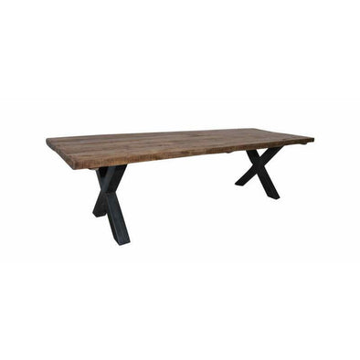 Rustic Wooden Dining Table w/ Cross Iron Legs- Dark Finish