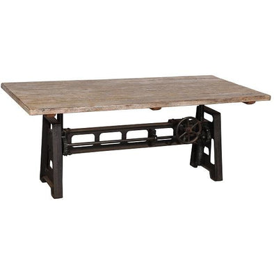Recycled Wood and Iron Crank Table
