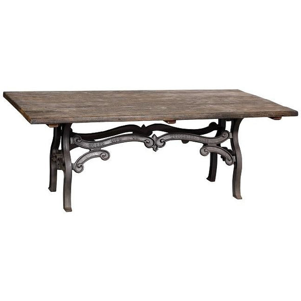 Recycled Wood Dining Table w/Decorative Iron Legs