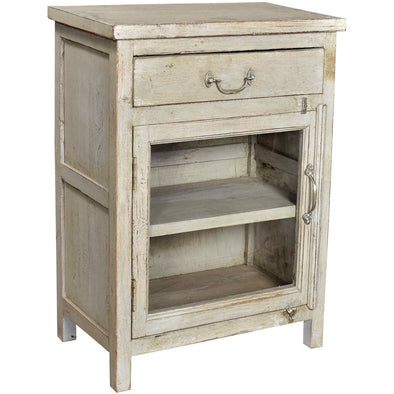 Small Glass Side Table/Cabinet - French Grey