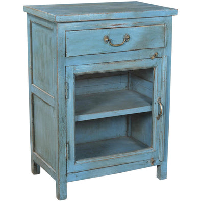 Small Glass Side Table/Cabinet - Teal Blue