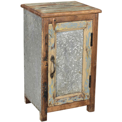 Wood & Tin Panel Side Table/Cabinet