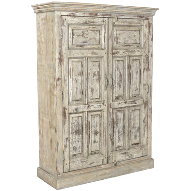 Large Wooden Cabinet - Rustic White