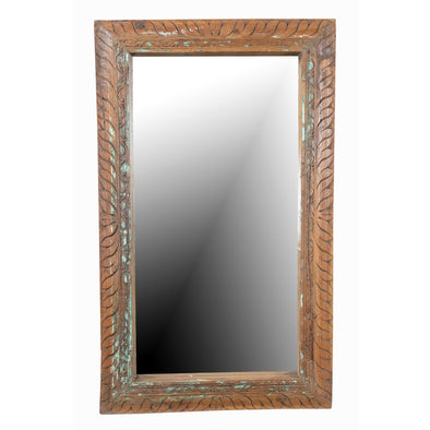 Carved Wooden Mirror - Natural & Teal