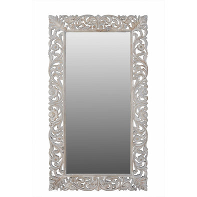 Vintage White Carved Mirror