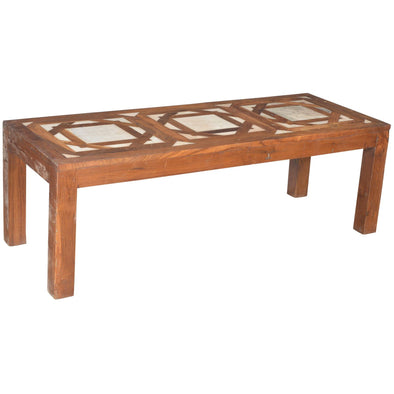 Marble Inlay Wooden Coffee Table