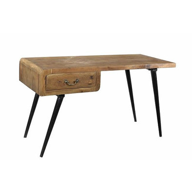 Retro Style Industrial Teak Wood & Iron Writing Desk