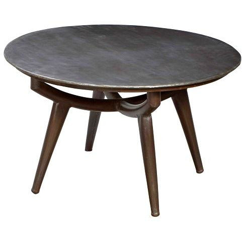 Round Iron Coffee Table with Iron Tapered Legs
