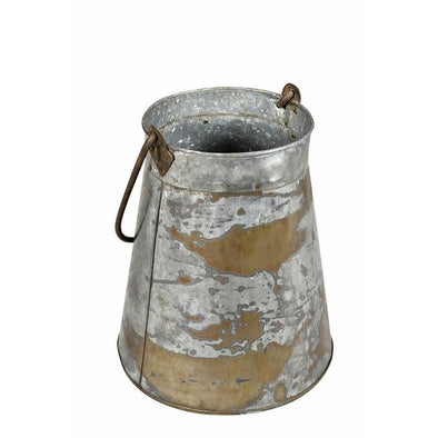 Iron Tapered Bucket with Handle-Galvanized