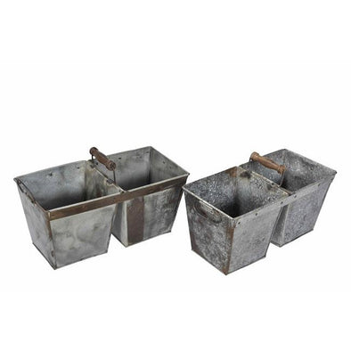 Double Iron Planter with Wooden Handle- Galvanized Iron